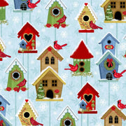Winter Joy Cardinal Birds & Birdhouses Blue Studio E #7170 - Quilting & Sewing Fabric