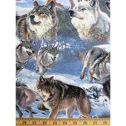 Wolves Cold Winter Wildlife Animals Digital Print Four Seasons #5718 - Quilting & Sewing Fabric