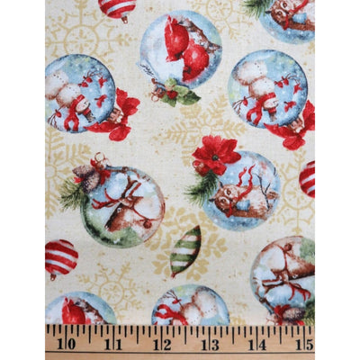 Woodland Holiday Wildlife Christmas Ornaments Wilmington Prints #6504 - Quilting & Sewing Fabric