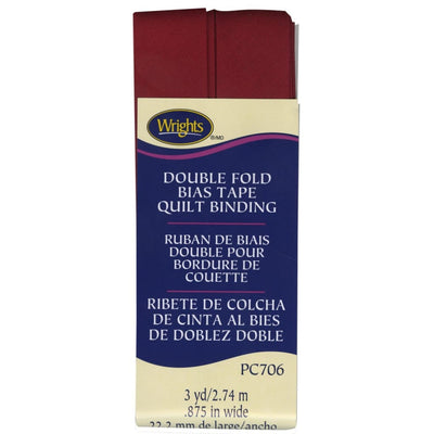 Wrights Double Fold Quilt Binding Brick Red 7/8 3YD #4106 - Sewing Notions