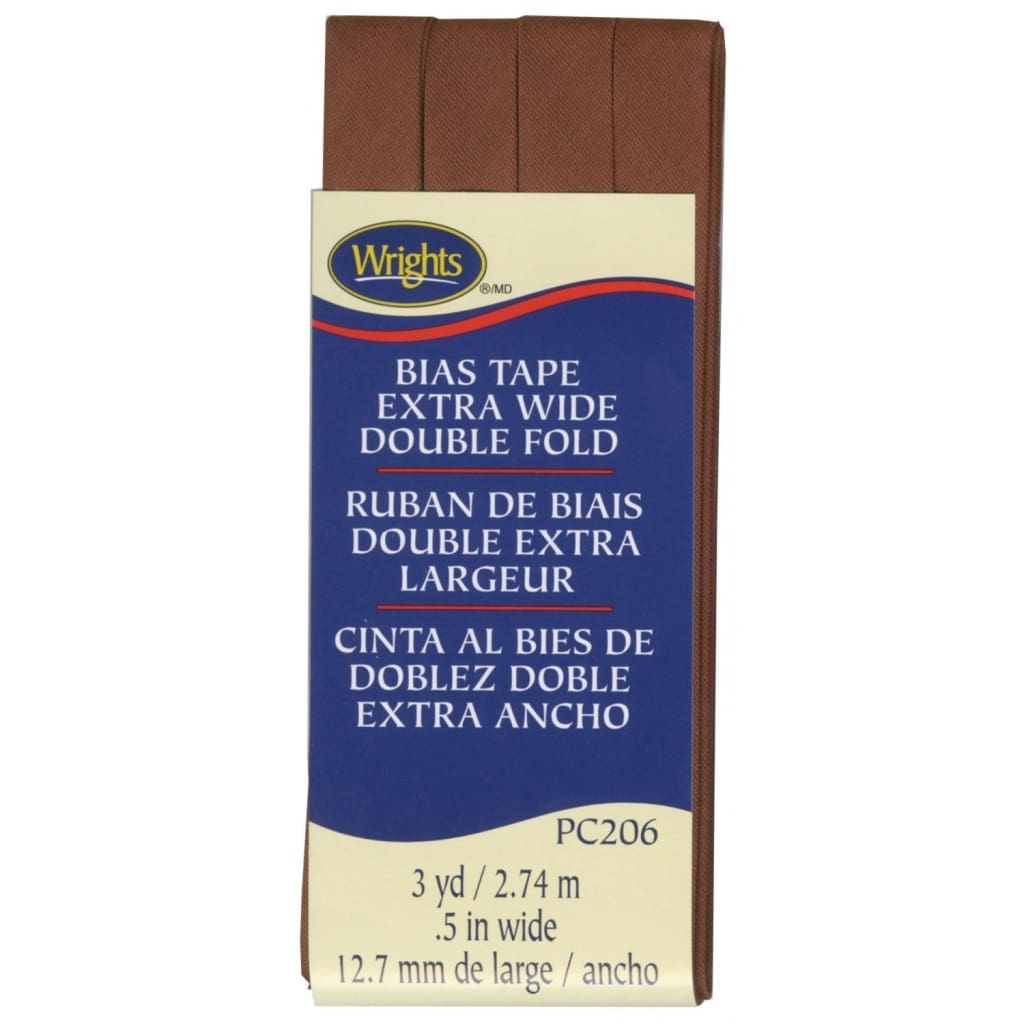Wrights Extra Wide Double Fold Biase Tape Bark Brown 1/2 3YD #4220 - Sewing Notions
