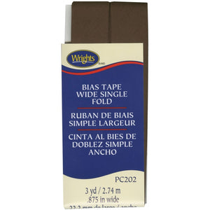 Wrights Wide Single Fold Bias Tape Mocha Brown Trim 7/8 3YD #4298 - Sewing Notions