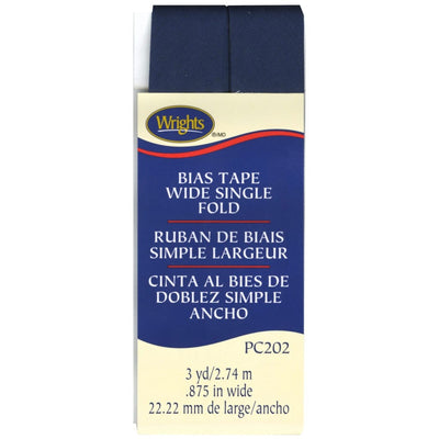 Wrigths Wide Single Fold Bias Tape Navy Blue 7/8 3YD #5241 - Sewing Notions