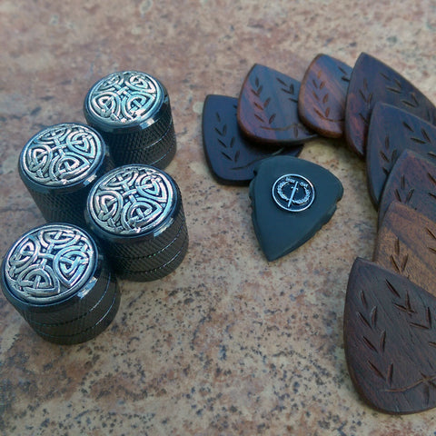 custom guitar knobs, premium guitar picks, handmade guitar plecs, boutique plectrums