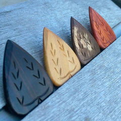 Wooden Guitar Picks, Exotic Wood Plectrums, Iron Age, Handmade Boutique