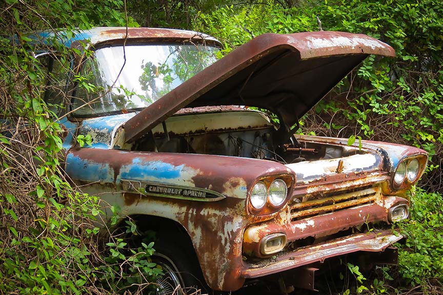 Full Color Vintage Chevrolet Apache 31 Rusting in a Field