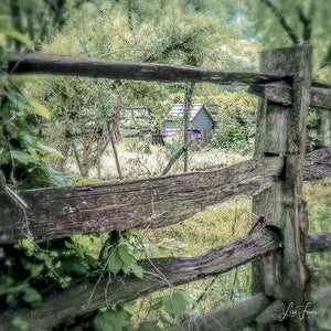 Looking through a split rail fence, one can see a small blue cottage.