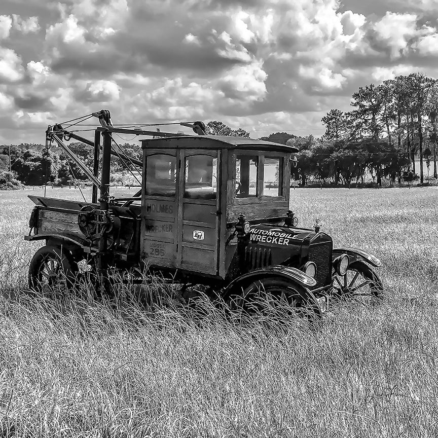 1917 Model T Wrecker rendered in Black-and-White