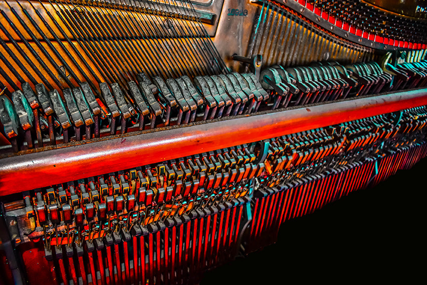 abstract of the innerworkings of a vintage piano