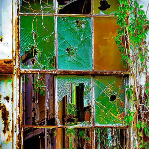 Window in an old dilapidated building, reimagined as stained glass by Lisa Faire & Bill Graham