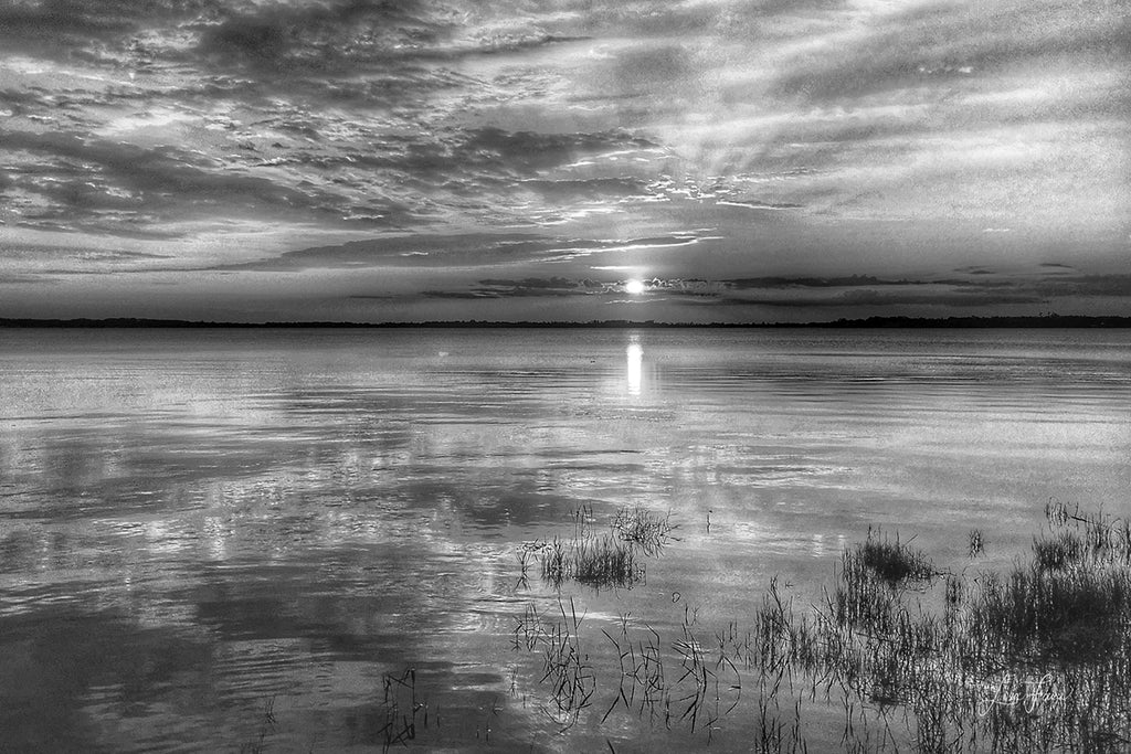 Rays of Sunlight through the clouds in Black & White on Lake Minnehaha by Lisa Faire Graham