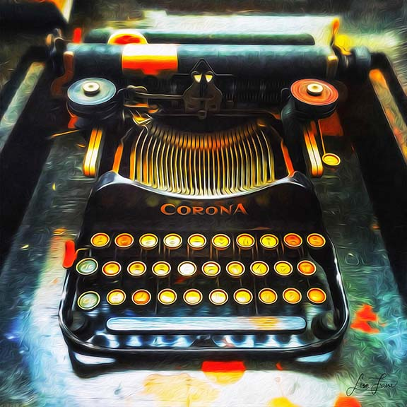 "Vintage Corona typewriter cast in shades of yellow in orange to resemble ""Hot Keys."""
