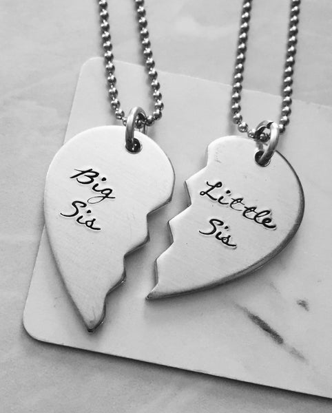 Big Sis Little Sis Break Apart Heart Necklace Set