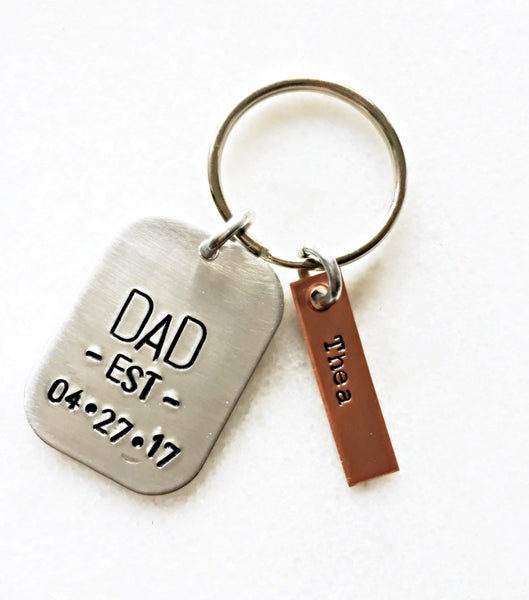 Personalized DAD EST. Keychain with Name Tags