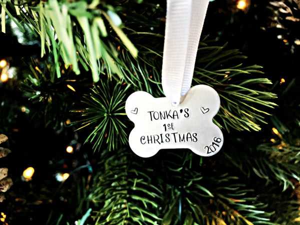 Puppy's FIRST Christmas Ornament | Silver Dog Bone