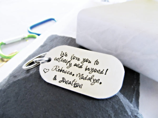 Love You to Infinity and Beyond Dog Tag Keychain