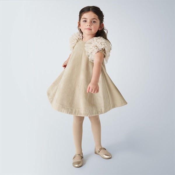 Velvet dress girl - Beige  4965
