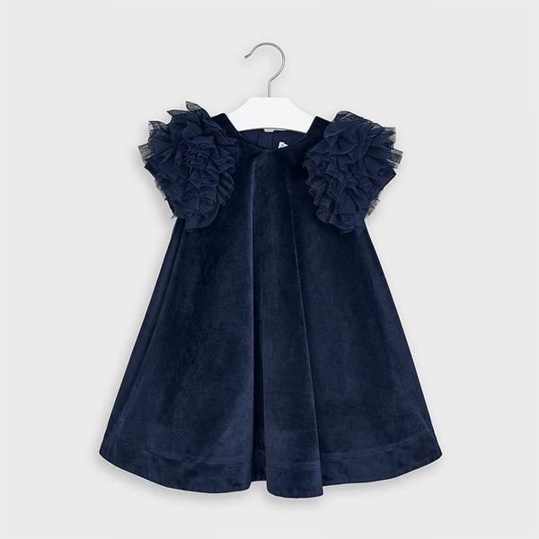 Velvet dress girl - Navy 4965