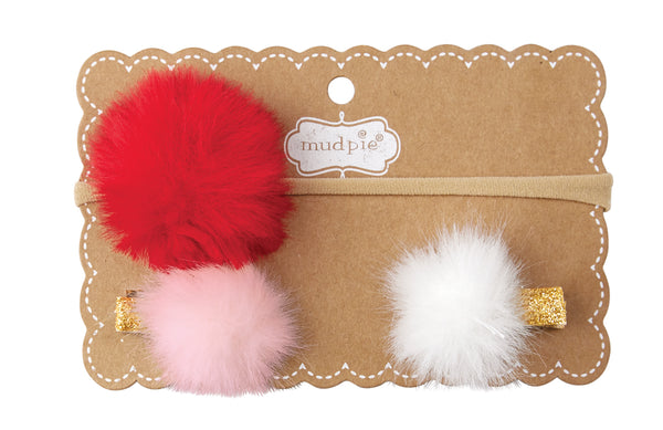 Holiday Furry Puff Headband & Clip Set