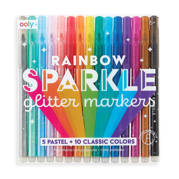 rainbow sparkle glitter markers - set of 15