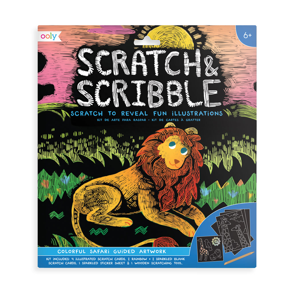 colorful safari scratch and scribble scratch art kit