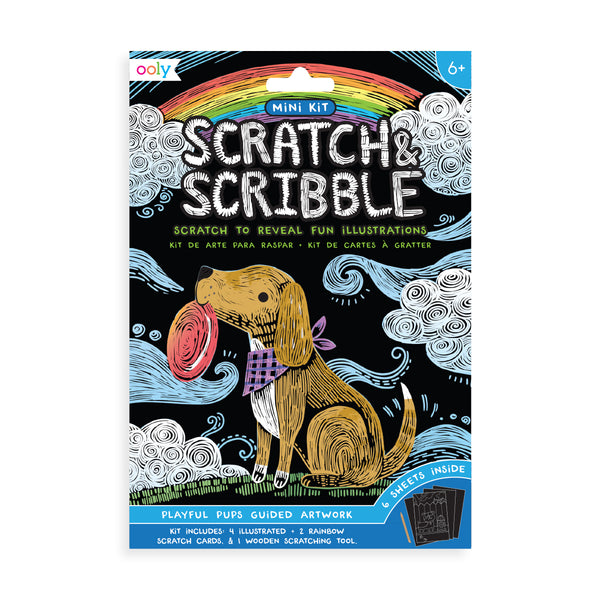 playful pups scratch and scribble mini scratch art kit