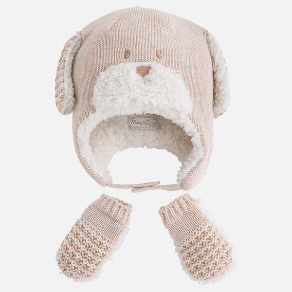 Baby boy set of animal style hat and mittens - 9609