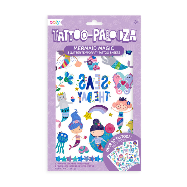 tattoo-palooza temporary tattoos - mermaid magic - 3 sheets