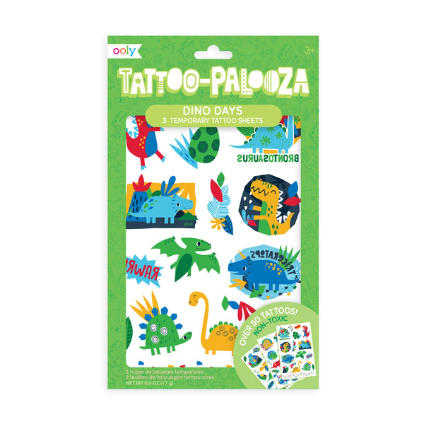 tattoo-palooza temporary tattoos - dino days - 3 sheets