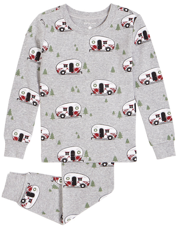 "Heather Grey ""Holiday Vacation"" PJ Set with Organic Cotton (2 pcs.)"