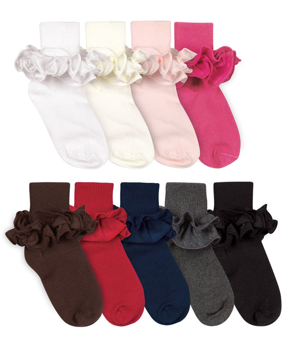 Ruffle Turn Cuff Cotton Sock