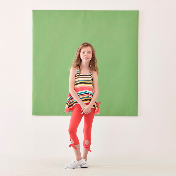 T-SHIRT WITH VERTICAL STRIPES/CORAL LEGGINGS SET