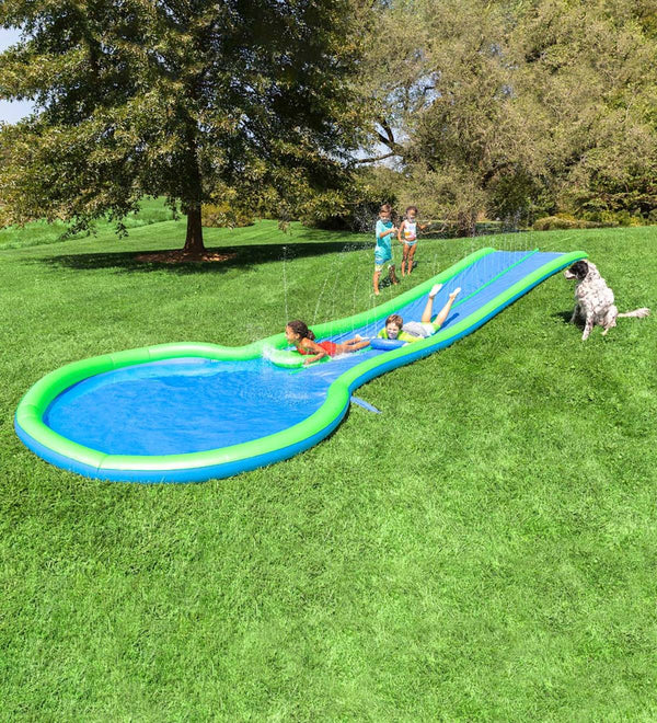 Ultimate Dual Water Slide Sprinkler, Splash Pool, and Two Speed Boards