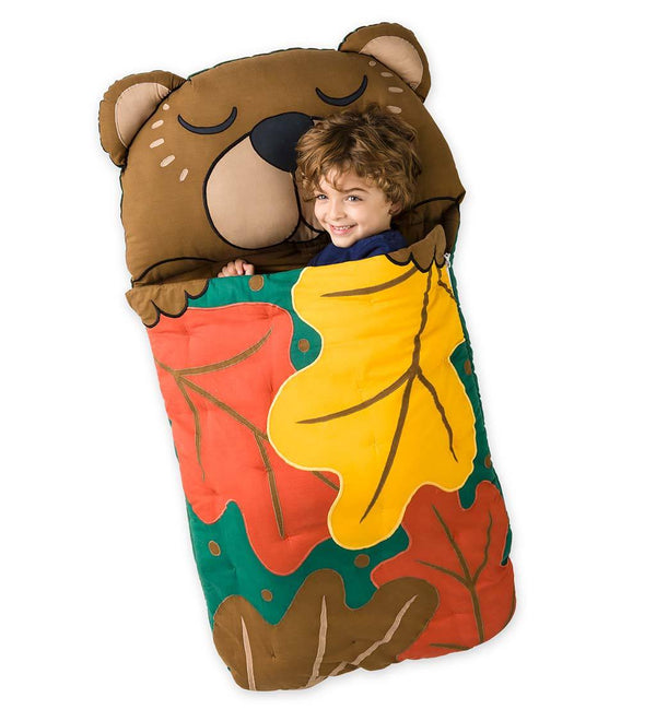 Woodland Sleeping Bag/ Nap Mat with Plush Pillow