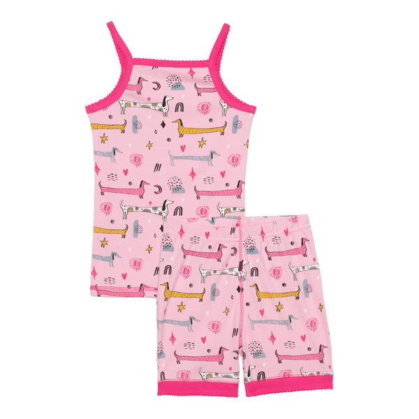 "ORGANIC COTTON PRINTED TANK AND SHORT PAJAMA SET ""GLOW IN THE DARK"", BABY GIRL & GIRL"