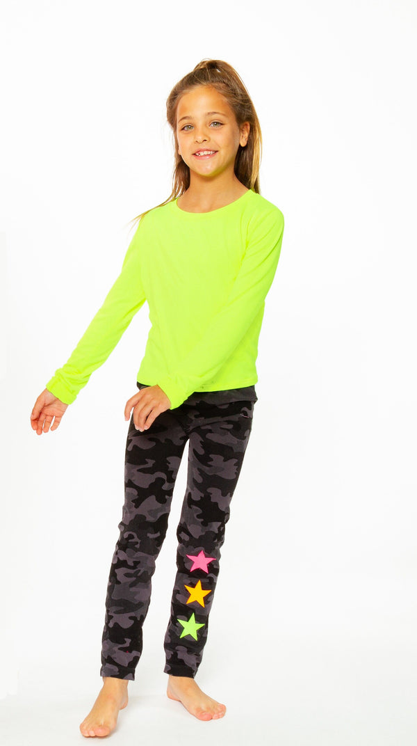 Charcoal Camo Knit Leggings with Neon Star embellishment for Tweens 7-14