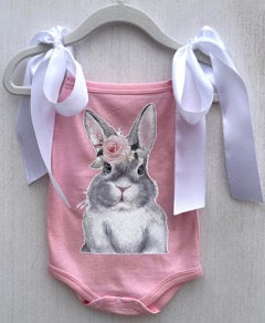 Bunny onesie with white bows