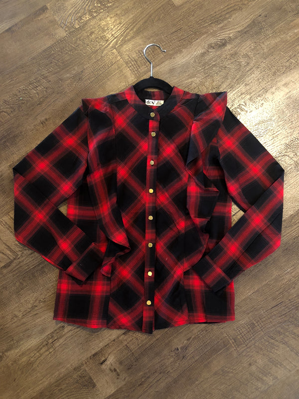 Red Plaid Button Up Shirt with Ruffles
