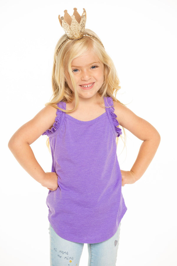 CHASER VINTAGE JERSEY RUFFLE RACERBACK SHIRRTAIL TANK IN ELECTRIC PURPLE