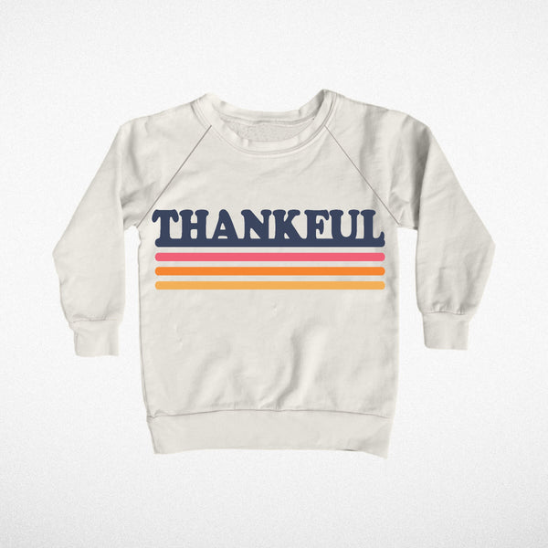 Tiny Whales Raglan Sweatshirt Thankful