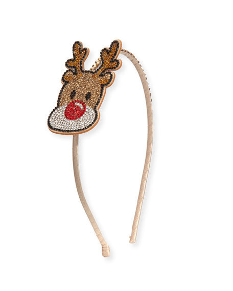 Bari Lynn Girls' Crystal Reindeer Headband