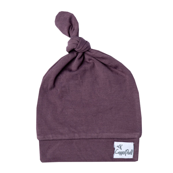 plum newborn top knot hat
