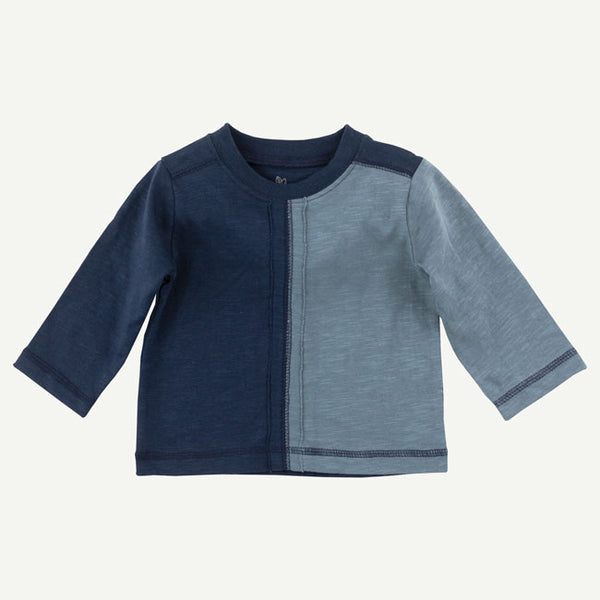 Blue Color Block Long Sleeve Tee