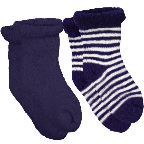 2-Pack Terry Newborn Socks - Navy