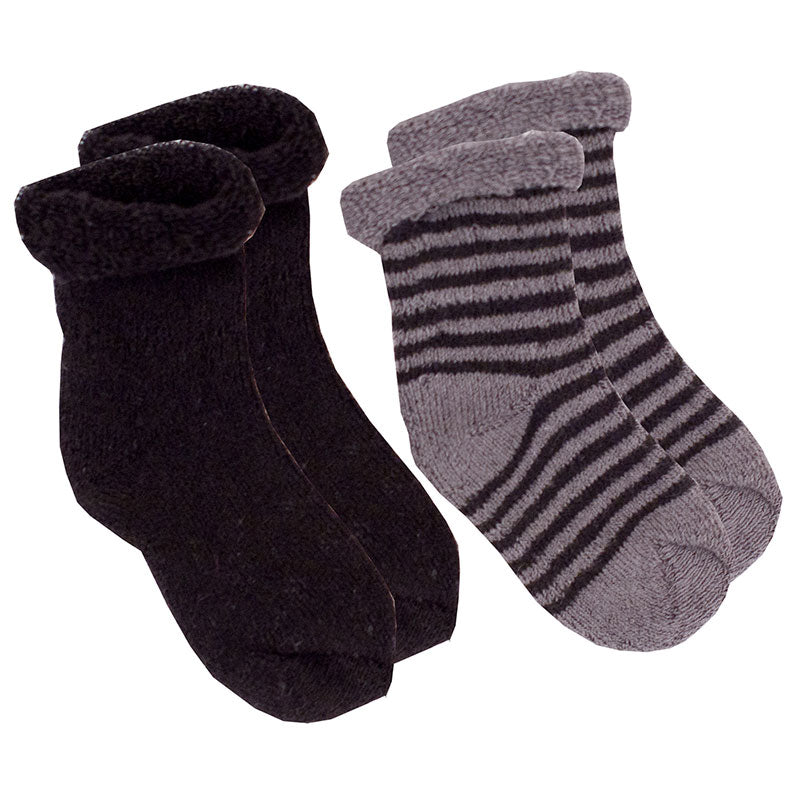 2-Pack Terry Newborn Socks - Black