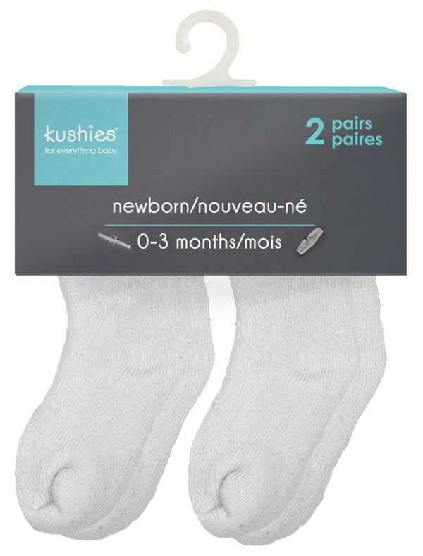 2-Pack Terry Newborn Socks - White