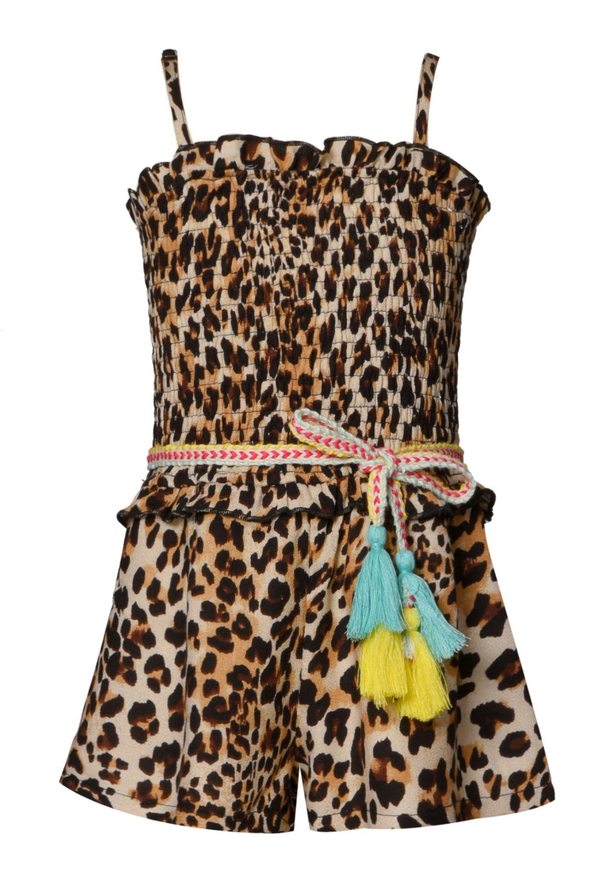 Animal Print Smocked Romper