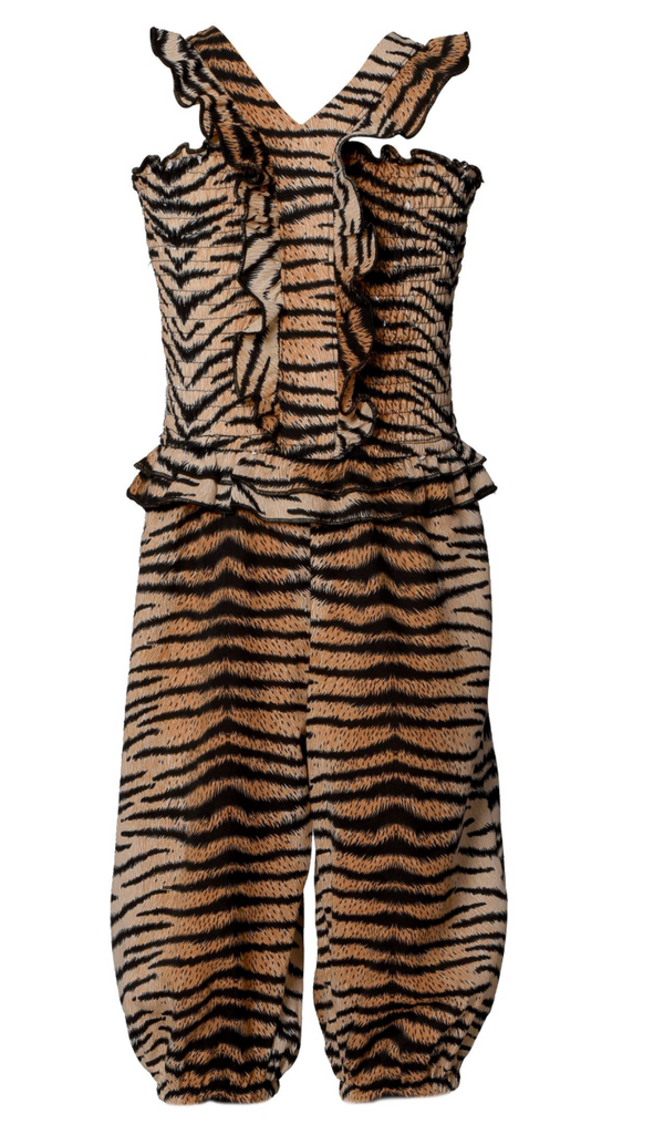 Animal Print Ruffled Smocked Jumpsuit