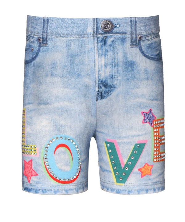 Denim Print Biker Short