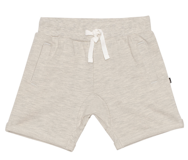 Drawstring French Terry Short in Oatmeal mix
